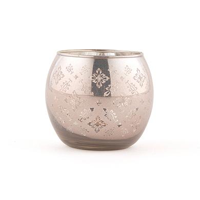 Large Glass Globe Votive Holder With Reflective Lace