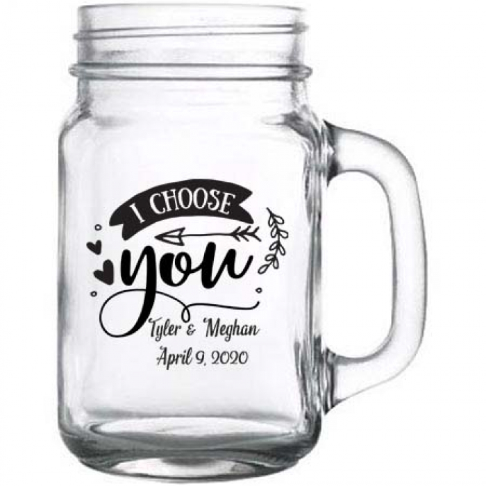 Personalized Wedding Gifts Canada: Personalized Mason Jar With Handle